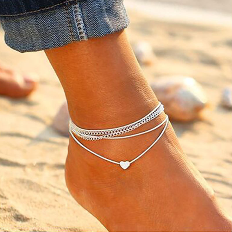 S054 Bohemian Silver Color Anklet Bracelet On The Leg Fashion Heart Female Anklets Barefoot For Wome