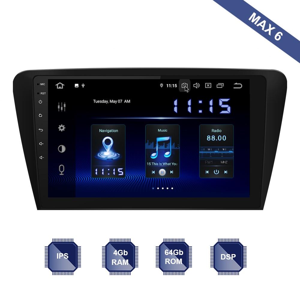 Radio de coche Android 10 2 Din, GPS Navi para Skoda Octavia 3 2014 2015 2016 2017 2018 PX6 DSP IPS HDMI 4Gb + 64Gb RDS WIFI USB AUX mapa
