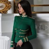 ocstrade women jackets spring autumn coat 2021 party high quality green plus size elegant long sleeve bandage jacket bodycon