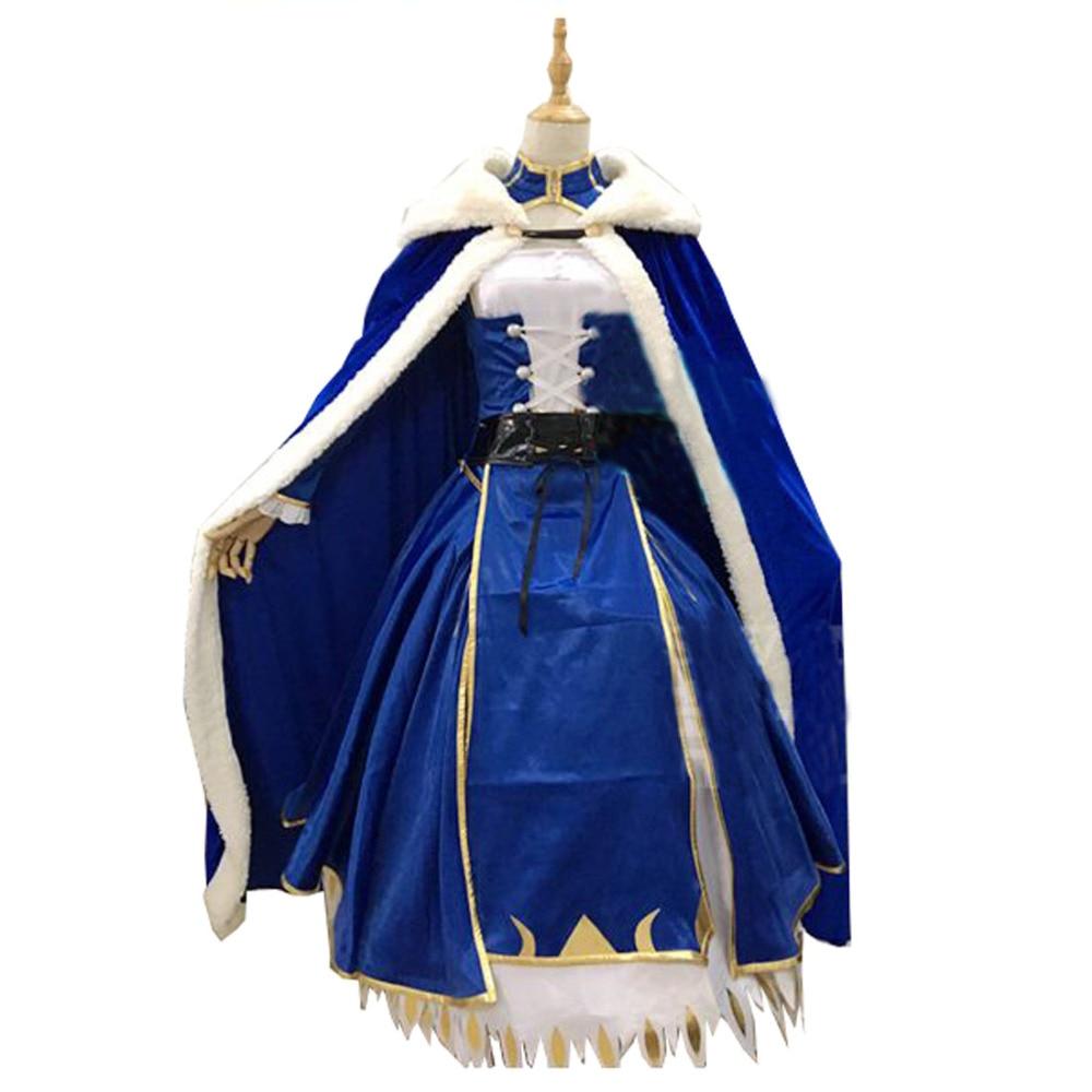 2017 Saber Cosplay Costume Artoria Pendragon Saber Cosplay Fate Stay Night UBW Fate Zero Sword Cosplay Costume With Cloak