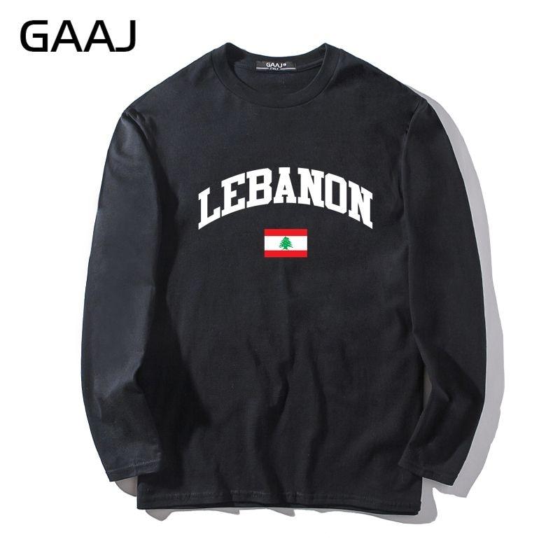 T Shirt Men GAAJ Lebanon Flag Brand Clothing Clothes Man & Women Unisex Long Sleeve Man Brand Tshirt Slim Fit #B439M