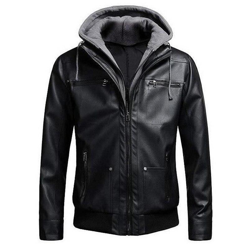 2018 chaquetas de cuero de la motocicleta de los hombres falsos chaqueta de cuero para hombres Slim Fit chaqueta con capucha de invierno Dropshipping
