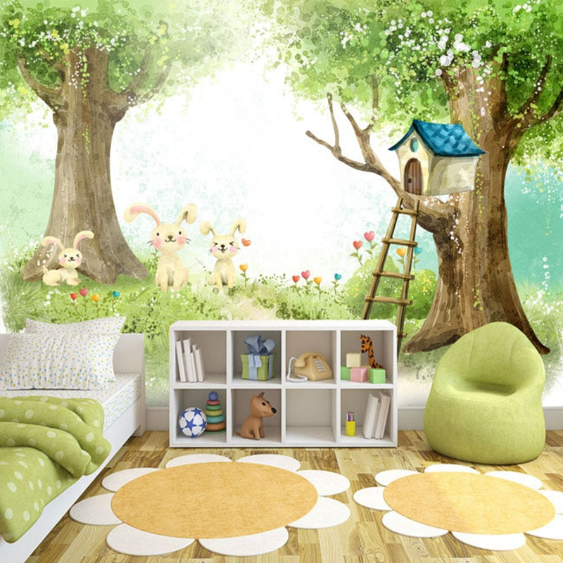 Фотообои 3D мультфильм милый детский фон для спальни настенная живопись Экологичное растительное волокно настенная бумага домашний декор