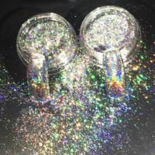 Nail Art copos láser brillante 0,2g lentejuelas brillantes polvo holográfico uñas de efecto espejo brillo 3D uñas copos de brillantina