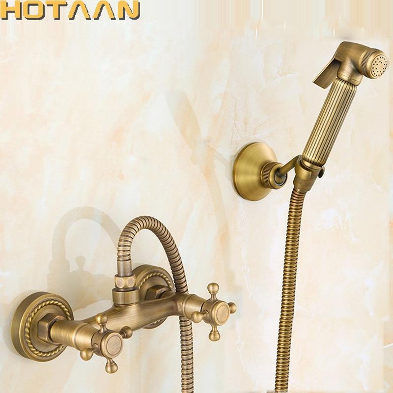 Бесплатная доставка, новое поступление, античная бронза, смеситель для биде, двойная ручка, смеситель, настенный, роскошный, для ванной комн...