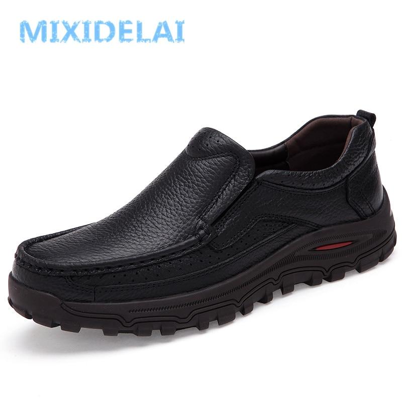 Mixidelai mocassins masculinos de couro italiano, tamanhos grandes 38-48, loafers para homens, couro legítimo, calçados formais