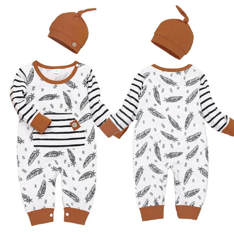 Ropa de otoño para bebé niño recién nacido bebé niña pluma ropa de manga larga mameluco 100% algodón + sombrero hogar traje