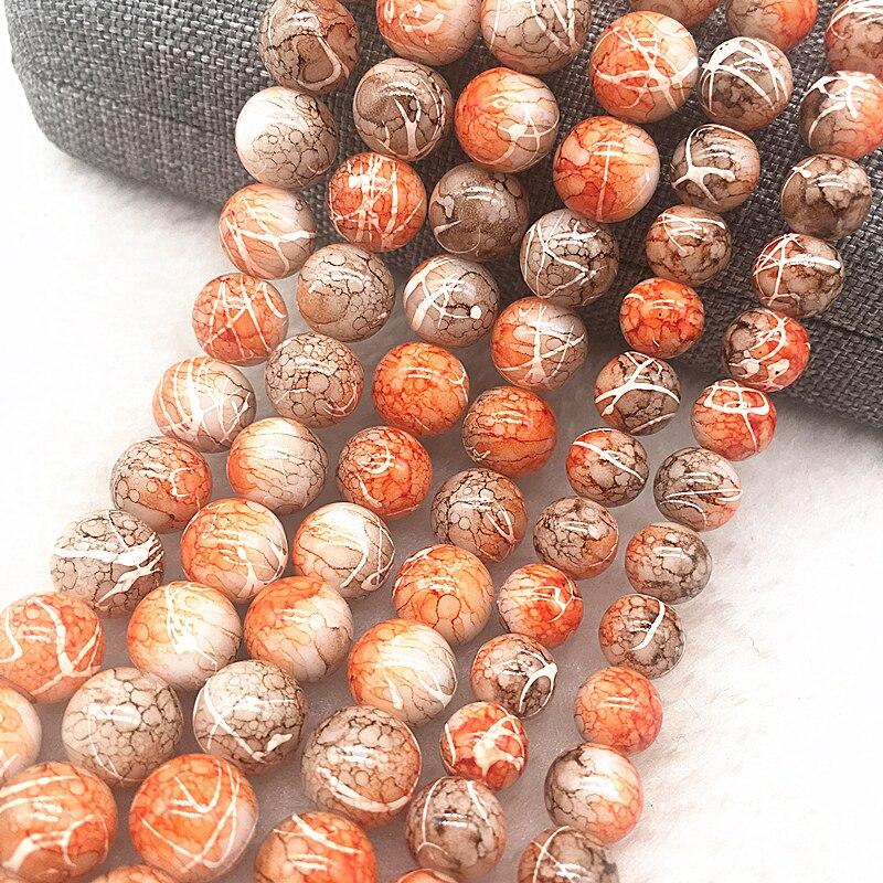 Venta al por mayor 4/6/8/10mm naranja y café Rosa cuentas de vidrio redondas cuentas espaciadoras sueltas patrón para fabricación de joyería diy pulsera collar #9
