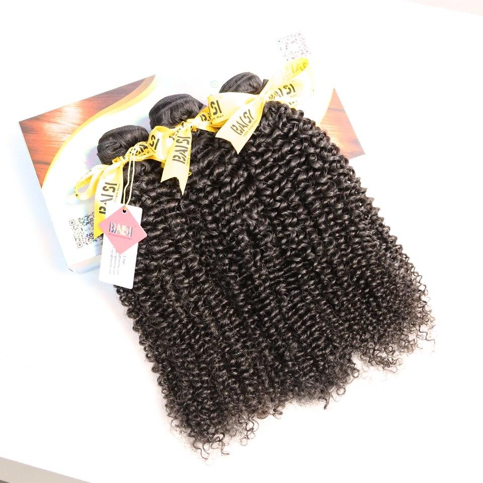 BAISI Hair Malaysian Virgin Hair Curly Extensions 3 Bundles Deal 100% Human Hair