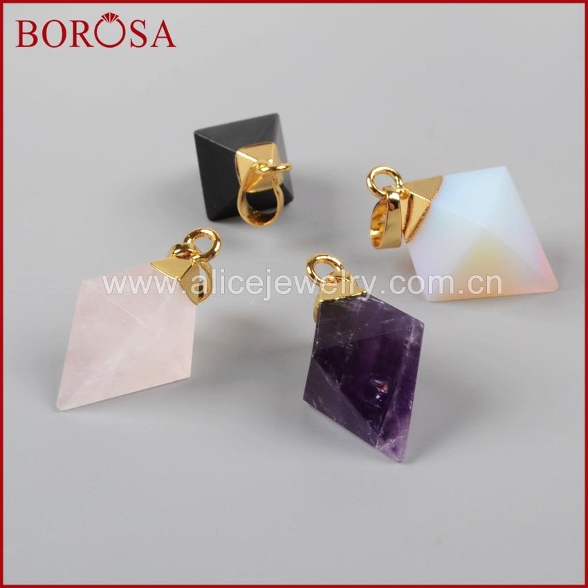 Color oro borosa rombo forma de punto piedras Multi-tipo cuenta colgante facetada G1003