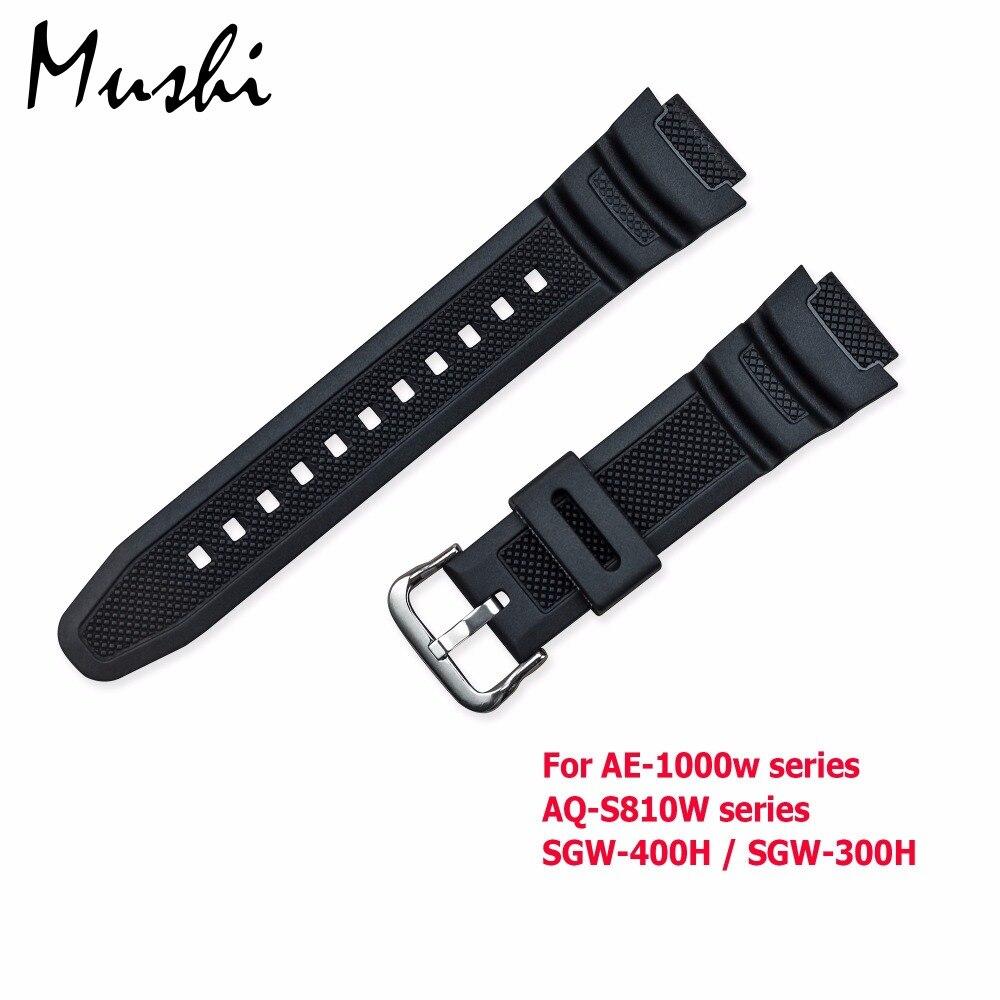 Резиновый ремешок для часов Casio AE-1000w AQ-S810W/SGW-400H, силиконовый ремешок для часов с пряжкой, ремешок для часов, черный