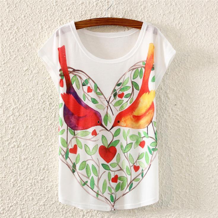 Oiseaux et motif de coeur femmes t-shirt 2015 conception de mode blusas femininas gros haut pour femme filles t-shirts vente discount
