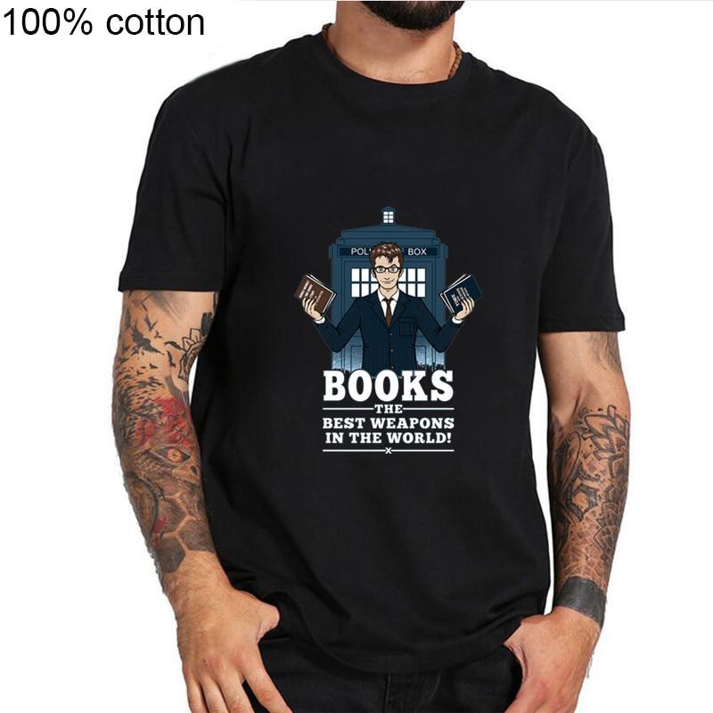 2019 nowa sprzedaż moda męska lekarz, który t koszula galaxy TARDIS policja box tshirt mężczyzna topy hipster DR, który książki najlepszą broń t-shirt