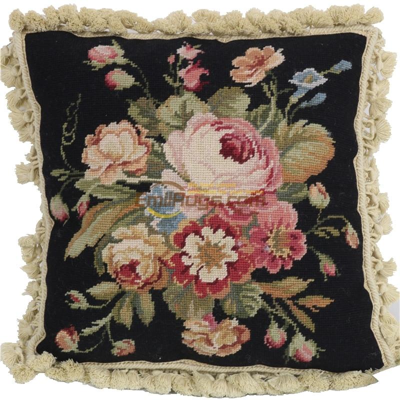 Cojín con encaje de aguja, funda de almohada bordada, cojín decorativo, almohadas, tejido a mano, lana, punto de aguja variable, cojín