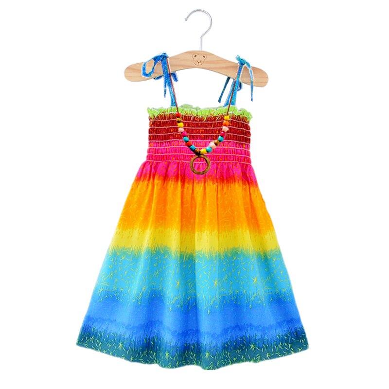 Летнее пляжное платье радужной расцветки для больших девочек, 2020 г. Одежда для маленьких девочек, платья для маленьких девочек, Бесплатная Подвеска для детей, 2345678, От 9 до 12 лет