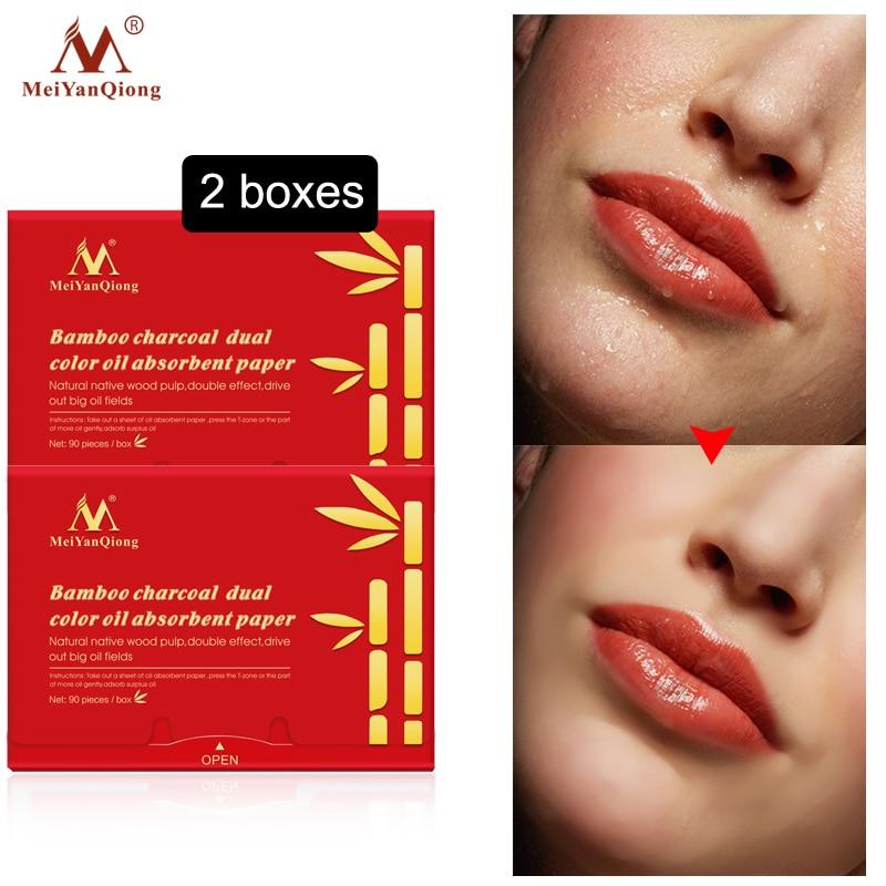 Super remover aceite Facial carbón de bambú papel absorbente de aceite de doble Color limpiador para acné tratamiento belleza hojas absorbentes de aceite