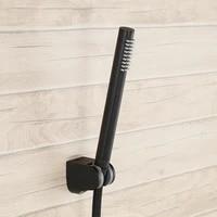 matte black solid brass bathroom handheld shower head complete set with adjustable shower holder 1 5m stainless steel hose