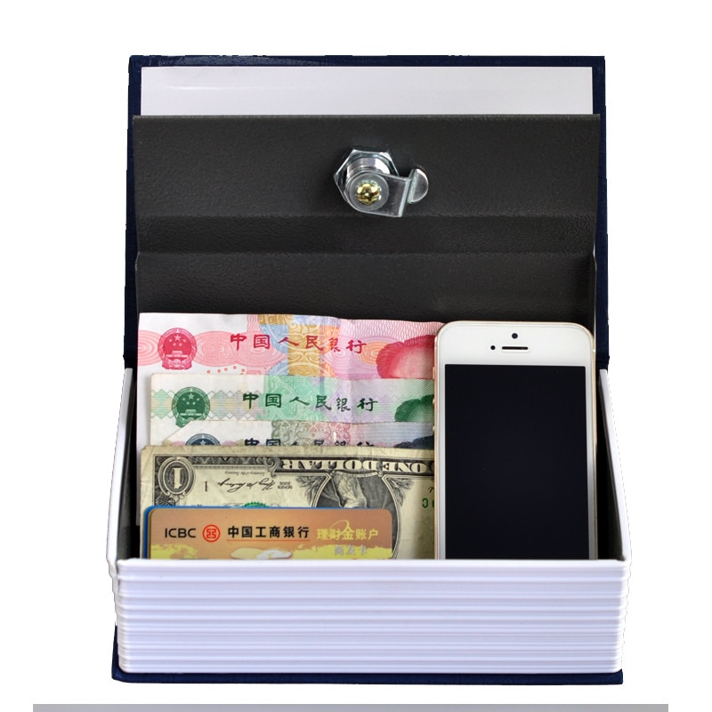 Steel Safe Dictionary Hidden Security Secret Coffer Strongbox Key Lock Safety Box Money Jewelry Storage Case size m 4 color combination lock hidden box security lock key english dictionary lock strongbox steel simulation 240 155 55mm