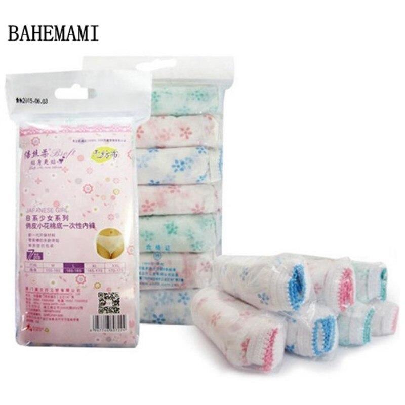 7pcs/lot Print Disposable Panties Maternity Underwear Panties/Womens Travel Prenatal Postpartum Paper Cotton Panties