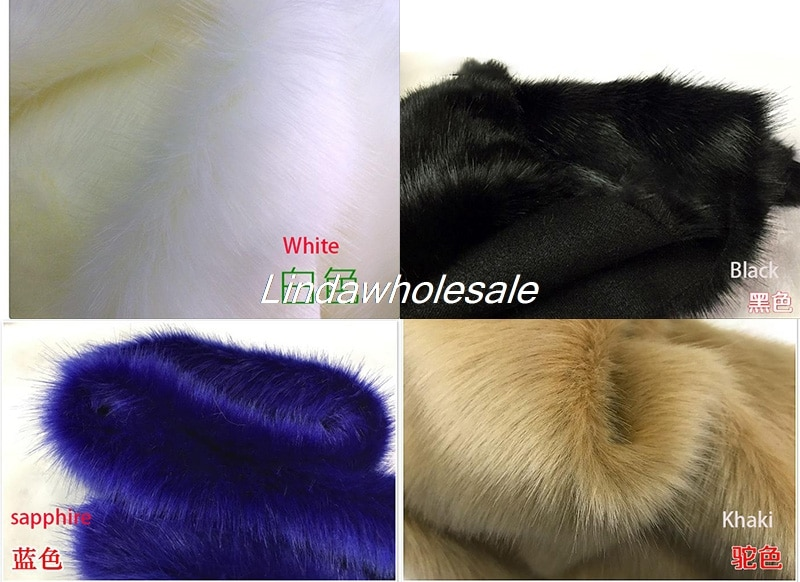 Pila de calidad 3-3,5 cm de piel de zorro de imitación, tela de piel sintética, materiales de alfombra de cuello para ropa, 160cmX45cm (media yarda)/Uds