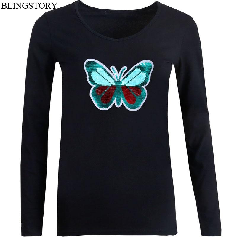 BLINGSTORY lentejuelas mariposa cambio de Color mujer Camiseta cuello pico manga larga Casual Tops señoras talla grande mujer camiseta Top 5xl