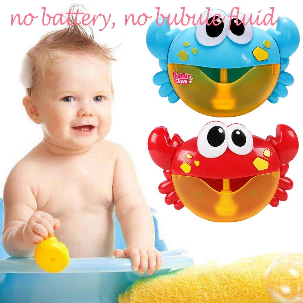 Niños dibujo animado adorable y divertido cangrejo automático máquina de burbujas Maker música eléctrica bañera jabón soplador juguete de baño para bebé con 12 canciones