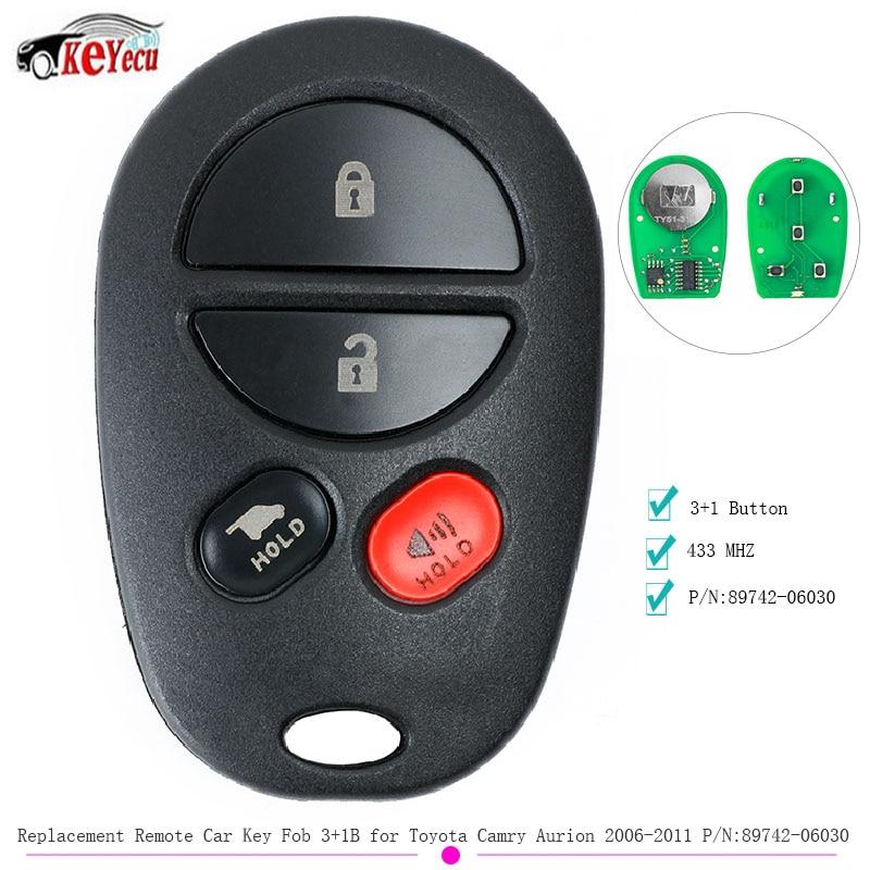 KEYECU 1/3 Uds de mando a distancia de coche 3 + 1B 433MHZ para Toyota Camry Aurion 2006, 2007, 2008, 2009, 2010, 2011 P/N 89742-06030