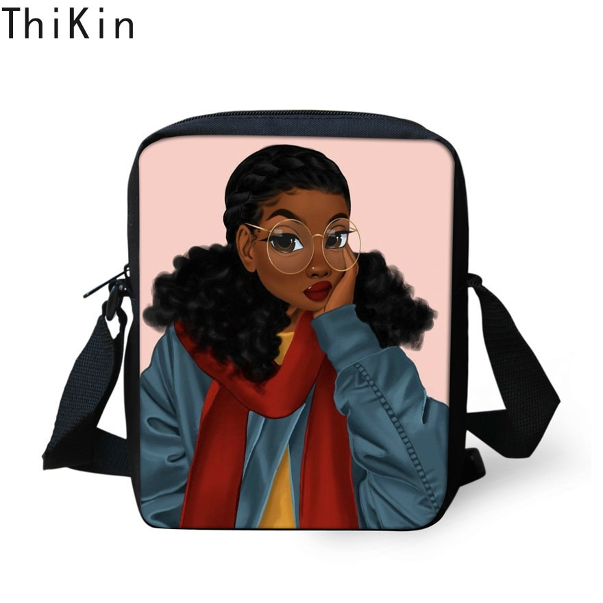 THIKIN Shoulder Messenger Bag Women Fashion Beach Handbags Black Art African Girls Printing Crossbody Bag for Teenager Girls