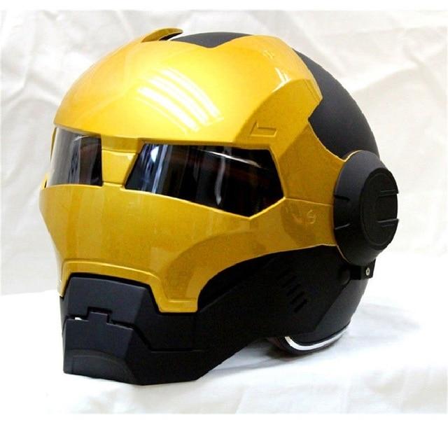 Casco de moto MASEI 610 IRONMAN negro y dorado casco de motocross media personalidad máscara abierta casco de carrera