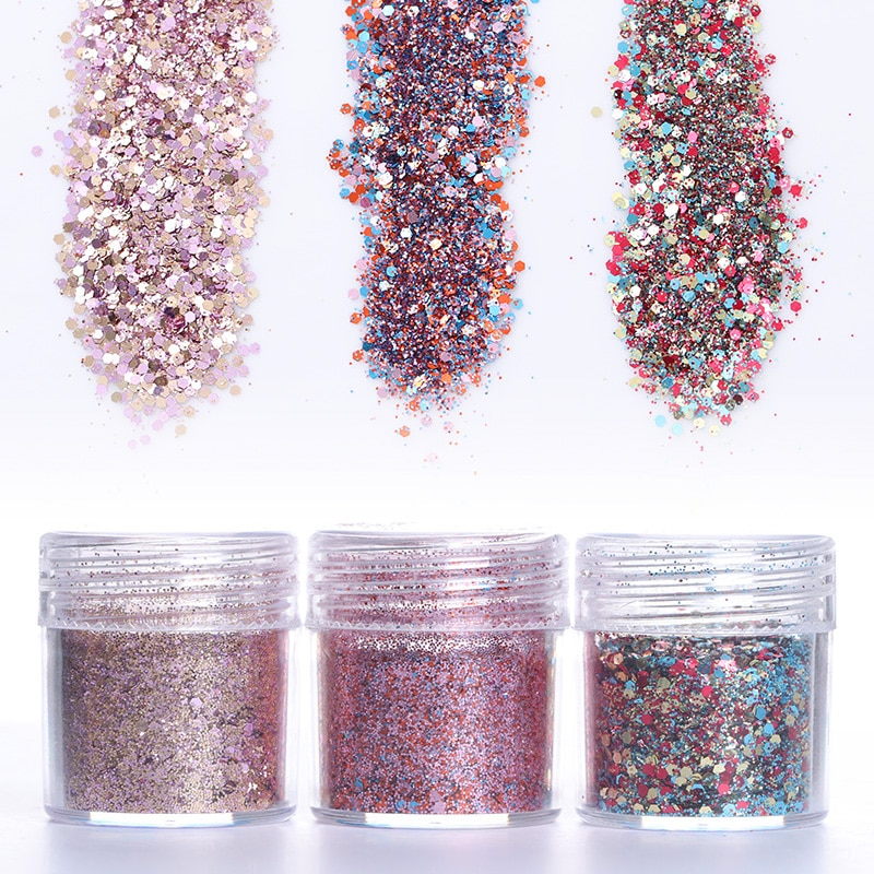 10ml lentejuelas hexagonales para uñas polvo de purpurina de colores uñas arte polvo Paillettes UV LED Base capa Color Gel 1 caja