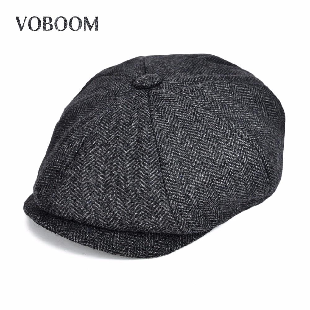 VOBOOM mezcla de lana hombres mujeres Newsboy Herringbone rayado hiedra Flat Cap otoño Gatsby clásico Newsboy estilo boina sombrero 131