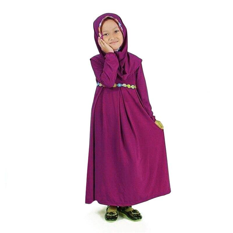 Otoño Malasia árabe niña vestidos princesa Traje + hijab bordado fiesta vestido musulmán oración traje vestido fiesta niña niños ropa