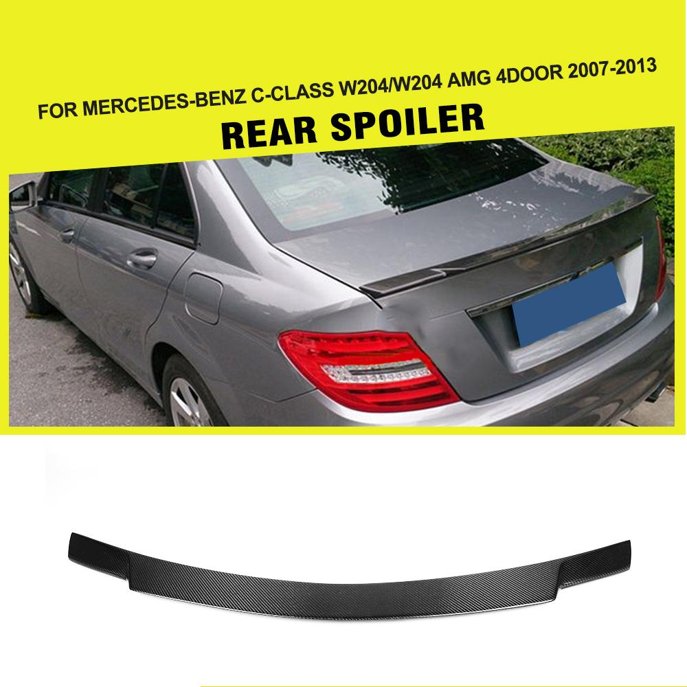 Carbon Fiber Car Rear Spoiler Boot Lip Wing For Mercedes-Benz C-class W204 C200 C250 C300 C350 C63 AMG Sedan 4-Door 2008 - 2014