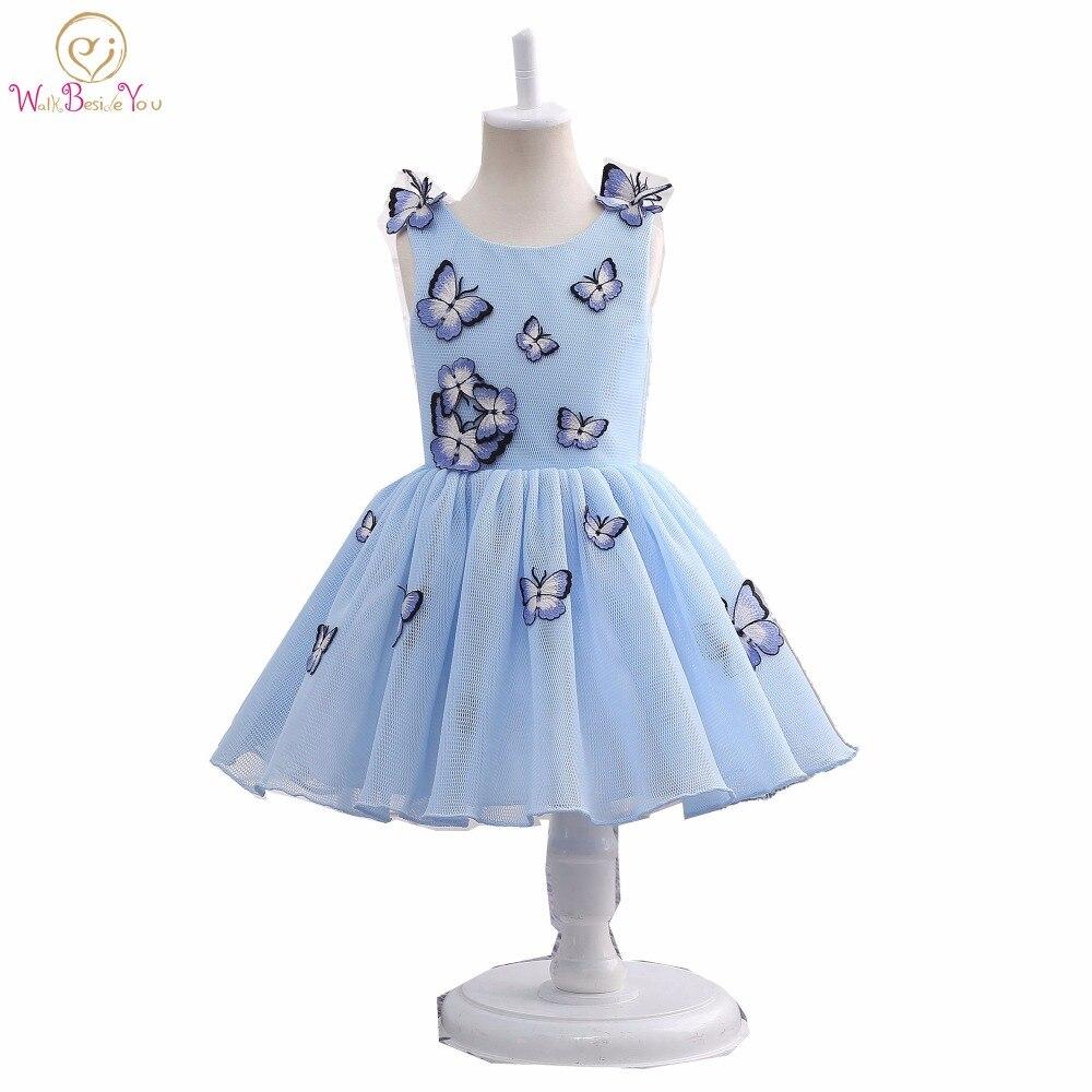 Real photo-فساتين أطفال ، ملابس بنات ، زخارف فراشة زرقاء وزهور ، فستان مشترك ، فساتين عرض للبنات ، جليتر ، 2020