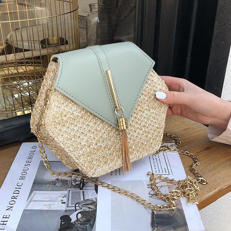 Bolso hexagonal de paja para mujer, bolso de bandolera para playa tejido para verano del 2020, bolsos pequeños de señora, bolso sencillo de viaje para mujer