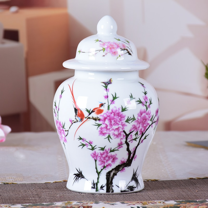 Jingdezhen Ceramic General Tank Vase Bird And Flowers Hat-covered Ginger Jars Ornament Creative Gift