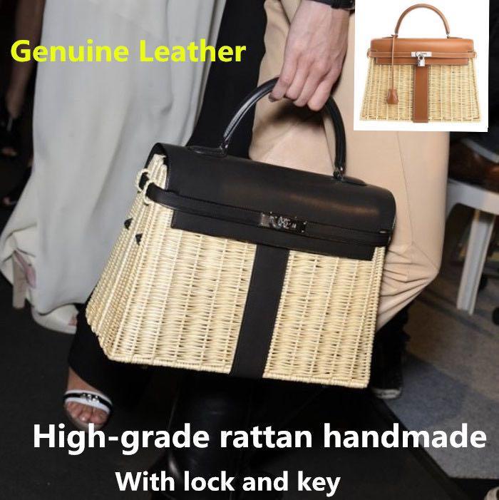2019 high-grade rattan tasche Aus Echtem leder weiblichen beutel rattan weben handtaschen leder portable umhängetasche mit schloss und schlüssel