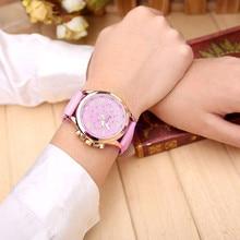 2018 Geneva Top Brand Watches Women Casual Roman Numeral Watch For Men Women PU Leather Band Quartz