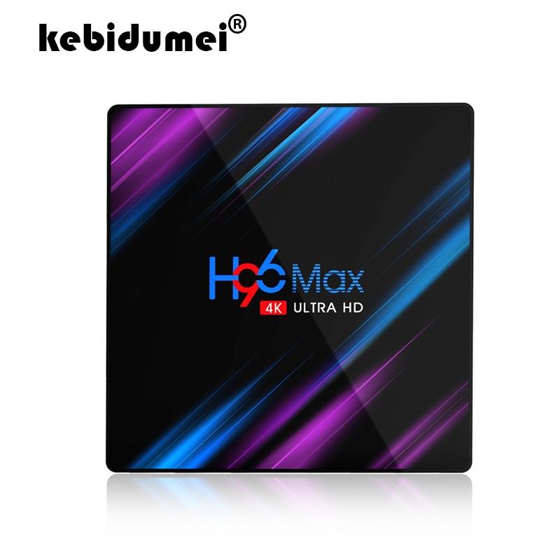 Pour Android 9.0 TV Box H96 MAX Rockchip RK3318 4GB RAM 64GB H.265 4K Assistant vocal pour Netflix Youtube Streaming lecteur multimédia