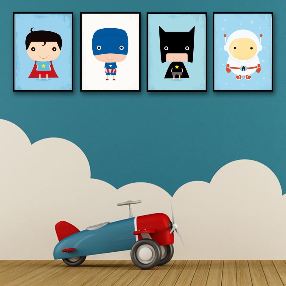 Superhéroe cómic Batman Superman arte de dibujos animados lienzo Poster imágenes de pared nórdicas para la sala de estar de los niños decoración del hogar sin marco