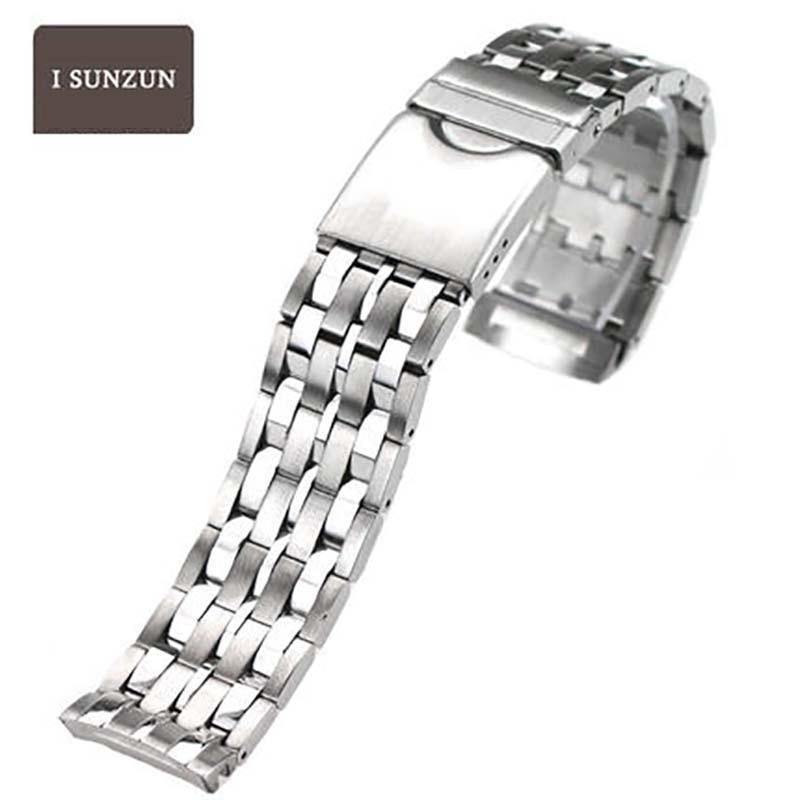 ISUNZUN Women And Men Stainless Steel Watchbands For Tissot T008 PRC100 T22 Metal Bracelet 17/20mm Width Durable Watch Straps