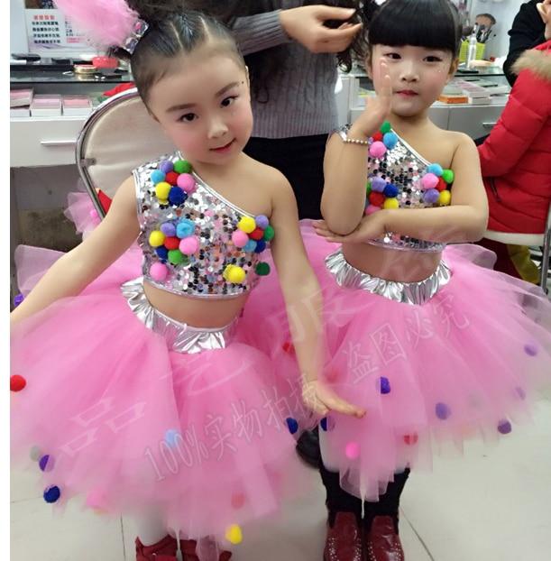 kids dance costumes jazz dance costumes balett dress girl Sequin tutu ballroom dance competition dresses