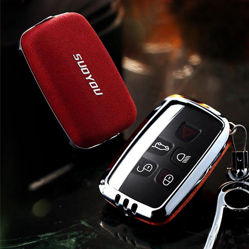 Funda de cuero genuino aleación Galvanizada para llave de coche para Land Rover A9 Range Rover Sport Evoque XJ XJL XF C-X16 2010 2011 2012