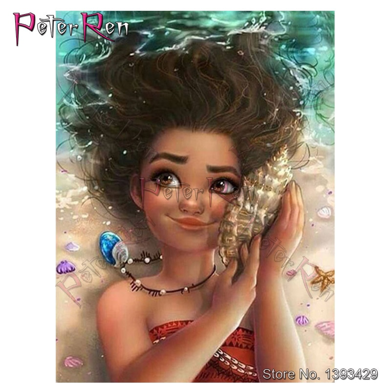 Cuadro Completo de diamantes cuadrados de dibujos animados de moana Maui girl ocean Diy, bordado redondo de diamantes de resina, punto de cruz 5d de cristal, bordado