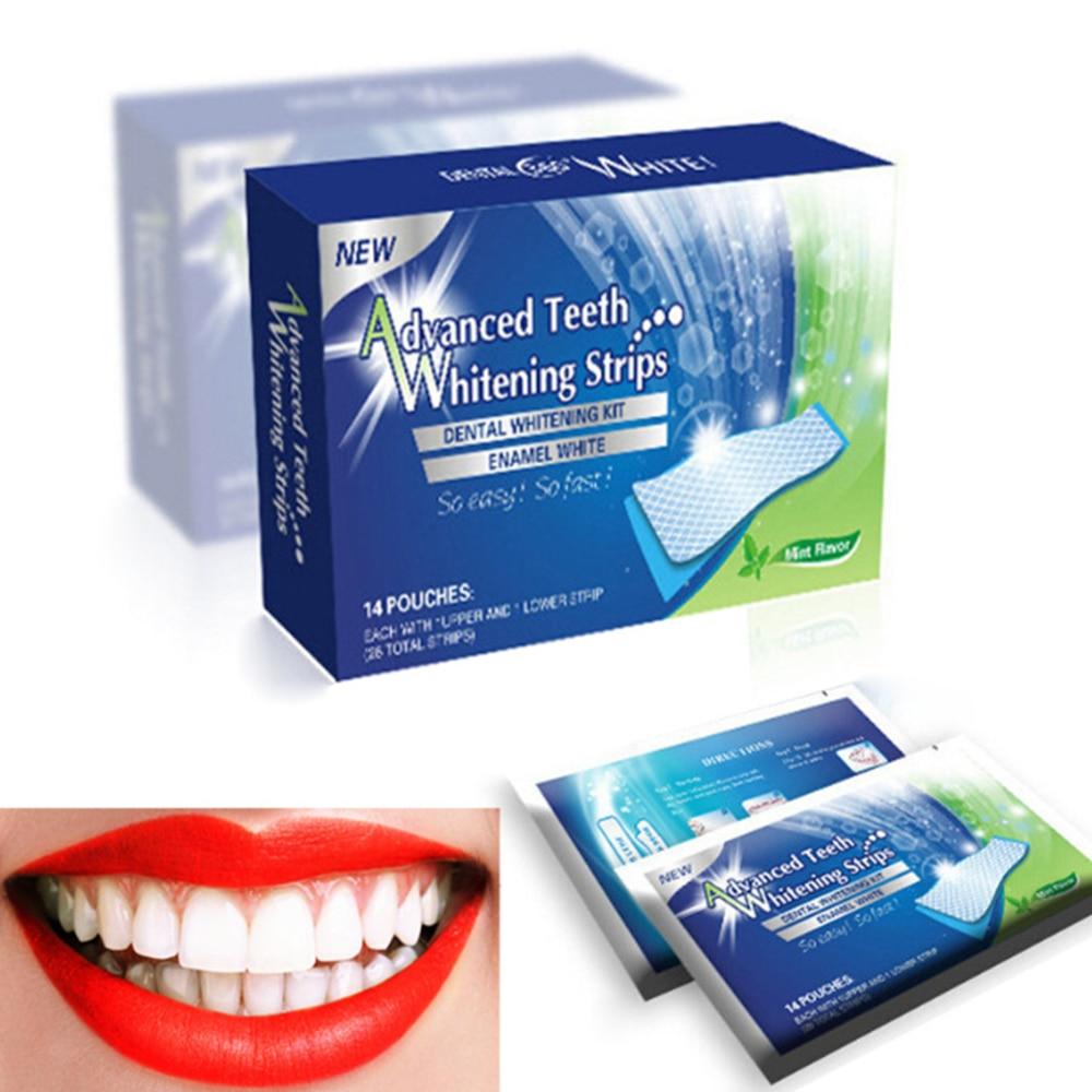 28 uds/14 Par 3D Gel tiras blanqueadoras dentales kit Dental blanco higiene Oral tiras de cuidado facial para dentadura postiza veneer Dentist seks