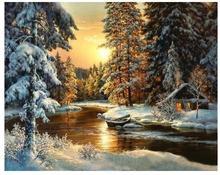 5819 Зимний закат лес-краска по номерам наборы для взрослых DIY