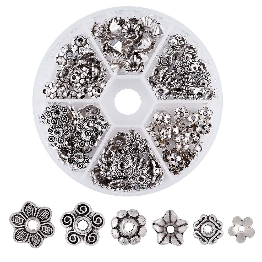 Pandahall 180 teile/schachtel Metall Mix Blume Bead Caps Vintage Filigrane Torus DIY Schmuck Machen Armband Halskette Erkenntnisse Zubehör