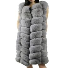 Lisa Colly 90CM Winter Warm Fashion Women Import Coat Fur Vests Thick Faux Fur Vest Coat Fox Fur Lon
