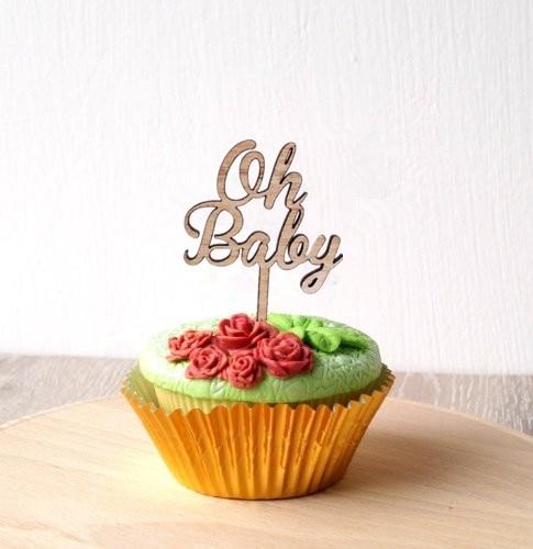 Adorno de magdalenas de bebé, adorno de torta de Baby Shower 24pzas en paquete, adorno de madera
