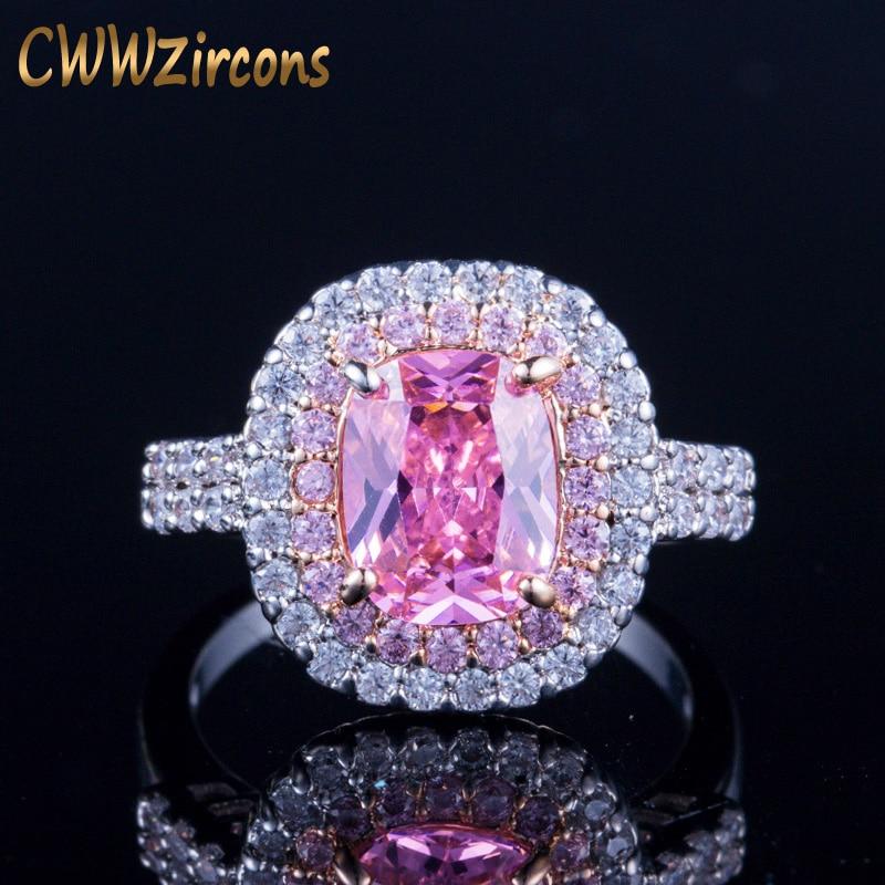 CWWZircons Super plata hermosa banda de boda de Color princesa corte Rosa Zirconia cúbica piedra grande anillos de compromiso para las mujeres R057